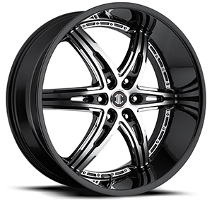 Crave Number 16 Black Machined Face with Black Lip 22 X 9.5 Inch Wheels