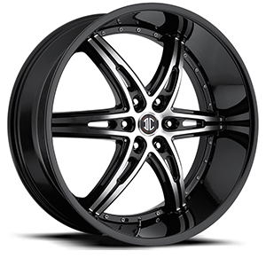 Crave Number 16 Gloss Black Machined Face with Gloss Black Lip 22 X 9.5 Inch Wheels