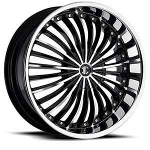 Crave Number 19 Gloss Black Machined Face with Chrome Lip 24 X 10 Inch Wheels