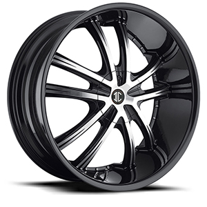 Crave Number 21 Gloss Black with Machine Stripe 22 X 9.5 Inch Wheels