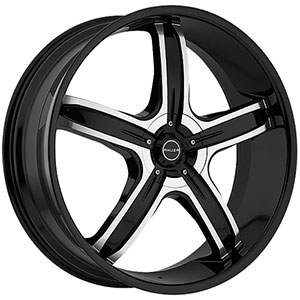 Akuza 844 Lever Gloss Black with Machined Face 20 X 8.5 Inch Wheel