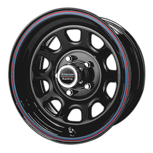American Racing  AR767 15X8 Gloss Black Steel With Red And Blue Stripe