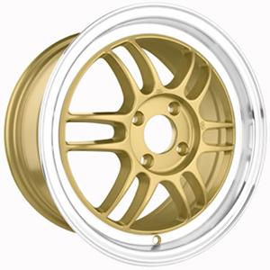 Drag DR 21 Gold Machined Lip 15 X 7 Inch Wheels