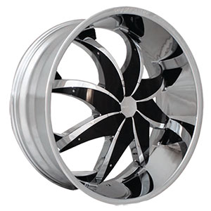 Rockstarr Wheels 608 Firehouse Chrome with Black Inserts 28 X 8.5 Inch Wheels