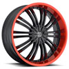 Crave Number 1 Gloss Black with Red Lip 16 X 7 Inch Wheels