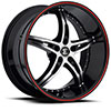 Crave Number 14 Gloss Black with Red Stripe 18 X 7.5 Inch Wheels