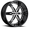 Crave Number 16 Black Machined Face with Black Lip 24 X 10 Inch Wheels