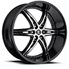 Crave Number 16 Gloss Black Machined Face with Gloss Black Lip 24 X 10 Inch Wheels