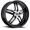 Crave Number 17 Gloss Black Machined Face with Black Lip 17 X 7 Inch Wheels