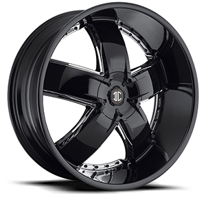 Crave Number 18 Gloss Black with Chrome Inserts 26 X 9.5 Inch Wheels