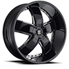 Crave Number 18 Gloss Black with Chrome Inserts 24 X 10 Inch Wheels