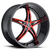 Crave Number 14 Black with Red Face and Black Lip 20 X 8.5 Inch Wheels