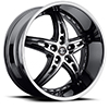 Crave Number 25 Black Chrome with Gloss Black Inserts 24 X 9 Inch Wheels