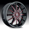 Hipnotic 360-BLACK with Red Inserts: 22 Inch