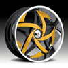 Hipnotic C-Note-BLACK with Yellow Inserts 20 X 10 Inch Wheel