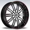 Crave Number 11 Black Machine Black Lip Red Stripe 24 X 10 Inch Wheels