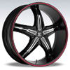 Crave Number 5 Black Chrome Insert Red Stripe 17 X 7.5 Inch Wheels