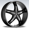 Crave Number 5 Black Chrome Inserts 2 Diamond 17 X 7.5 Inch Wheels