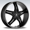 Crave Number 5 Black Diamond 22 X 8.5 Inch Wheels