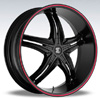 Crave Number 5 Black Red Stripe 17 X 7.5 Inch Wheels