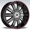 Crave Number 7 Black Machine Black Lip Red Stripe 24 X 10 Inch Wheels