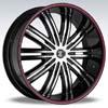 Crave Number 7 Black Machine Black Lip Red Stripe 24 X 10 Inch Wheels