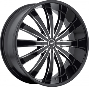 Avenue A610 18X7.5 Gloss Black Machined Face Black Lip