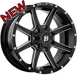 Ballistic Razor Back 956 Gloss Black 18 X 9 Inch Wheel