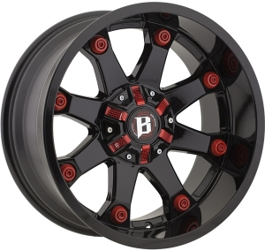 Ballistic 581 Beast 22X12 Gloss Black With Red Accessories