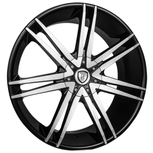 Borghini B20 24X9.5 Black Machined with Aluminum Cap