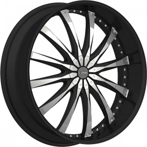 Dcenti DW 8 24X9.5 Black Machined with Machined Lip & Aluminum Cap