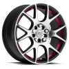 Drag Concepts R19 15X6.5 Black Machine with red stripe