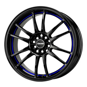 Drag DR 38 Gloss Black with Blue Stripe Wheel Packages