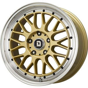 Drag DR 44 Gold with Machined Lip 17 X 7.5 Inch Wheels