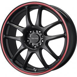 Drag DR 31 Flat Black w Red Stripe Wheel Packages