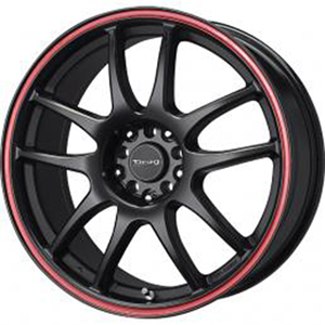 Drag DR 31 Flat Black w Red Stripe 15 X 6.5 Inch Wheels
