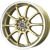 Drag DR 9 Gold Machined Lip 17 X 7 Inch Wheels