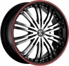 Fiero Number 1 22X8.5 Black w-Machined Face Red Line