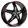 Fiero Number 15 26X9.5 Gloss Black with Red Stripe