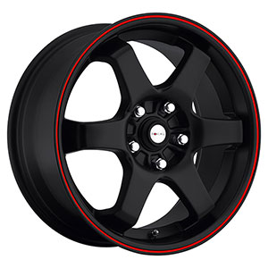 Focal X 421 Matte Black with Red Stripe 15 X 6.5 Inch Wheel