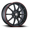 Forza 315 Black with Red Stripe 17 X 7.5  Inch Wheel