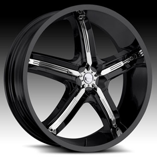 Milanni Bel Air5 459 Gloss Black Chrome Accents Wheel Packages