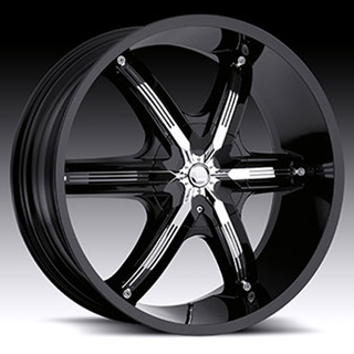 Milanni Bel Air6 460 Gloss Black Chrome Accents Wheel Packages