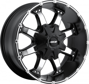 MKW M83 Satin Black Machined Face Black Lip High Rise Machined on Flange