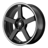 Motegi MR116 16X7 GLOSS BLACK WITH MACHINED FLANGE