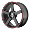 Motegi MR116 17X7 Matte Black With Red Racing Stripe