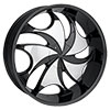 Rockstarr Wheels 561 Legs Black with Chrome Inserts 26 X 9 Inch Wheels
