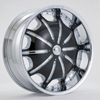 Rockstarr Wheels 557 Dynasty Chrome Black Inserts 28 X 10 Inch Wheels