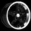 Ruff Racing R280 17X7 Gloss Black with Machined Lip