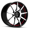 Ruff Racing R353 17X7.5 Gloss Black with Machined Face and Red Pin Stripe